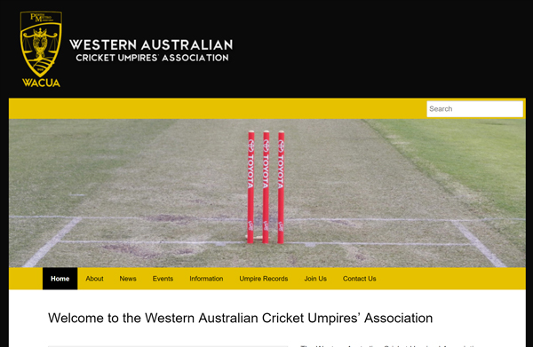 Western Australia Cricket Umpires' Association Inc. Website